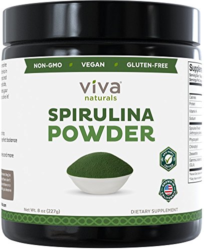 Viva Naturals Spirulina Powder: California-Grown, Non-GMO, Non-Irradiated and Pesticide-Free  The FINEST Green Superfood for Smoothies and Juices, 8 oz