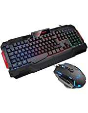 Gaming Keyboard{UK Layout} GK806 Rainbow LED Backlit Wired Keyboard 7 Button Optical Mouse USB Gaming Keyboard and mouse Combo Set for PC Laptop