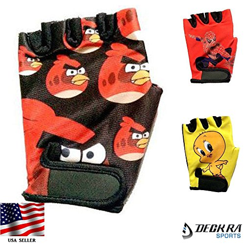 Kids Gloves Junior Cycling Cartoon Character Printed Gloves (ANGRY BIRDS, XS)