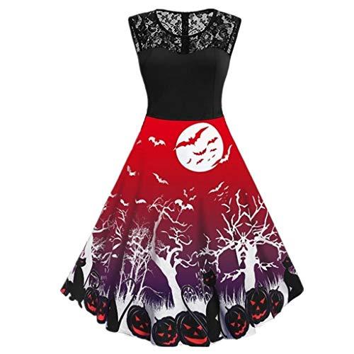 Costume Halloween Femme Xl (GWM Halloween Decorations, Halloween Party Props, Women Halloween Dress Ghost Cobweb Print Sleeveless Swing Mini Dress Vintage Party Costume (Color : 04, Size :)