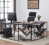 O&K Furniture L-Shaped Home Office Desk with Tree Bookshelf, Corner Computer Desk PC Laptop Study Workstation Desk, Gray-Brown
