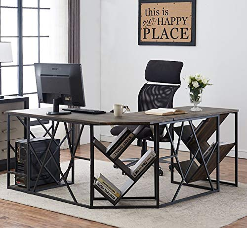 O&K Furniture L-Shaped Home Office Desk with Tree Bookshelf, Corner Computer Desk PC Laptop Study Workstation Desk, Gray-Brown