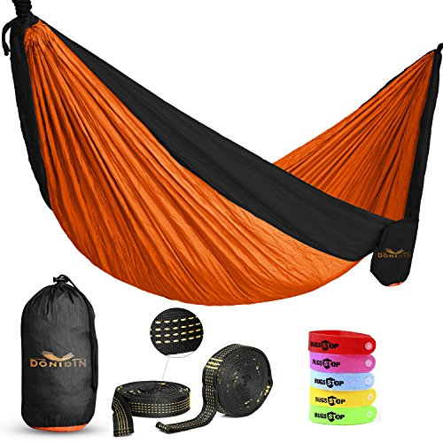 Donidin Double Hammock, XL, Fits 2 up to 400 lbs. for Camping, Hiking, and More Parachute Nylon, Weather Resistant, 10' L x 6.6' W with 2 Bonuses, Bright Orange