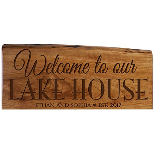 LifeSong Milestones Personalized Custom Welcome Solid Cherry Wood Wall Plaque with Engraved Family Name and Established Year Gift Ideas (Welcome to Our Lake House)