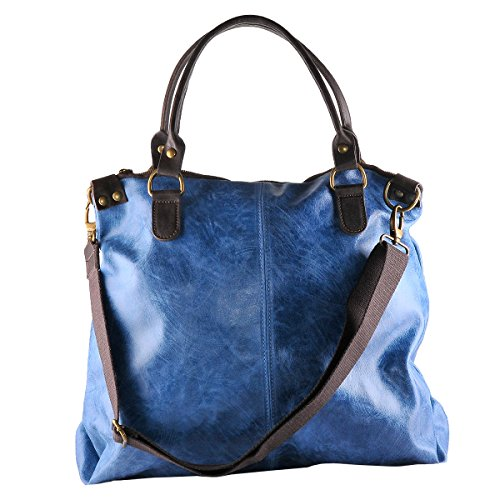 BORDERLINE Italy Borsa in Vintage Pelle Blu da Stile in Made 100 Vera Donna Jeans LISA ZHZwqnraxt