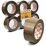 """[6 Pack]110 Yard x 1.9"""" Inches, 2.7mil Thick, Brown Packing Tape Rolls Pack Heavy Duty Packaging Adhesive Sealing for Shipping Moving Storage"""
