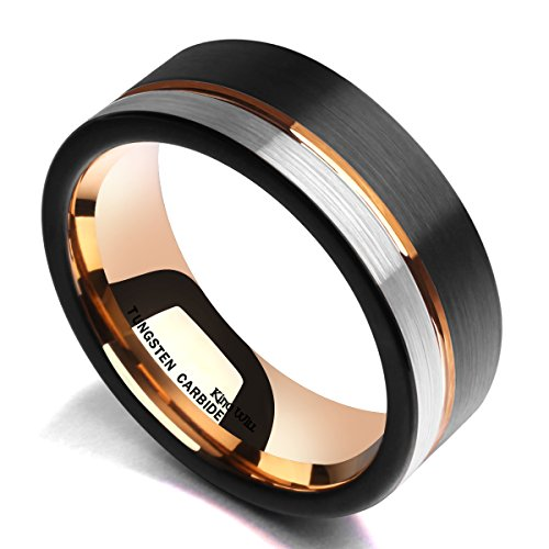 King Will Tungsten Carbide Wedding Band 8mm Rose Gold Line Ring Black and Silver Brushed Comfort Fit