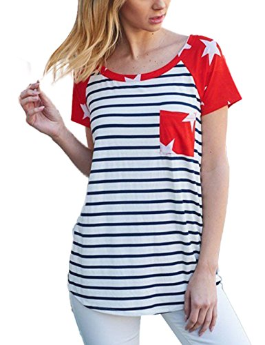 (Independence Day Womens Casual Print T-Shirt American Flag Tops Short Sleeve Blouse Tee)