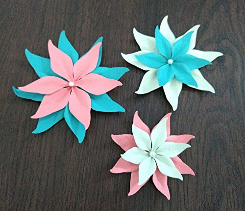 Turquoise, Coral, and Mint Set Of 3 Paper Layered Rhinestone Bling Flower Wedding Decoration Favor Card Making (Flower Turquoise Coral)