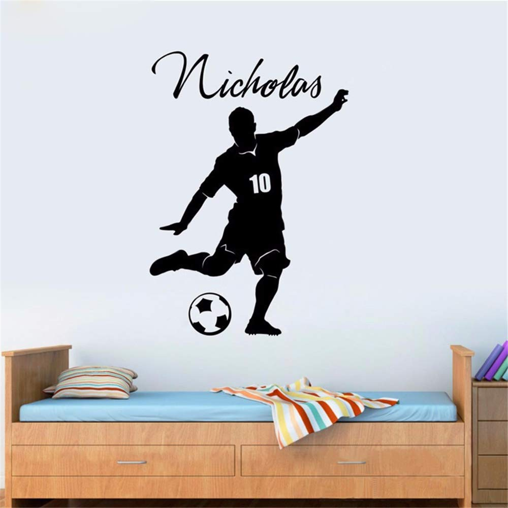 pegatina de pared Nuevo balón de fútbol personalizado, nombre y ...