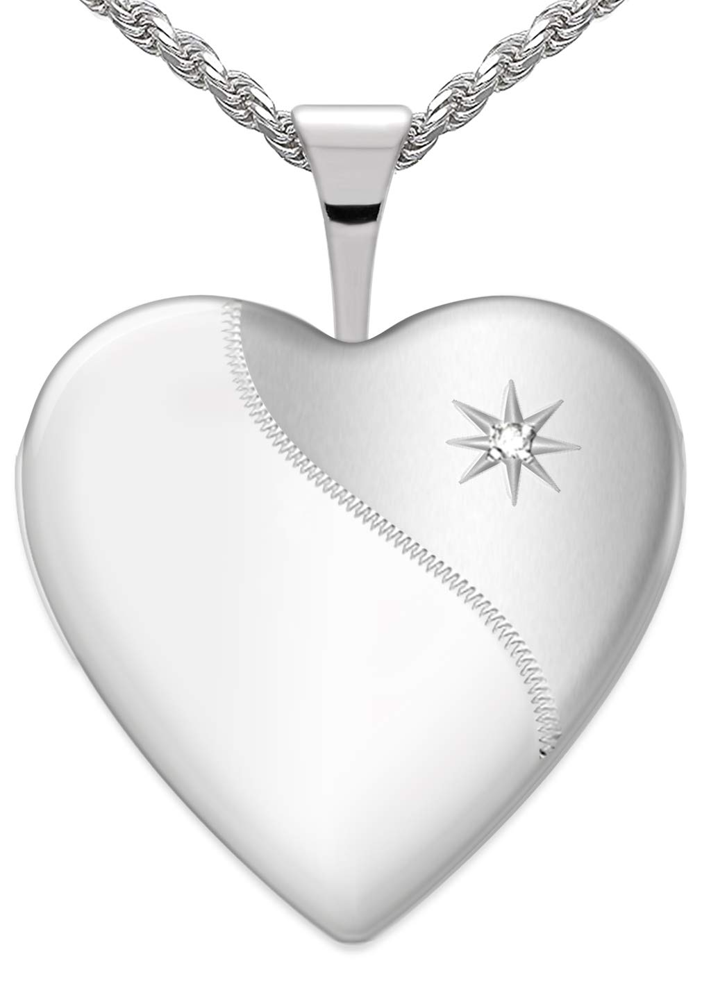 US Jewels And Gems Women's 3/4in 0.925 Sterling Silver 2 Photo Heart Locket with Diamond Accent 2mm Box Necklace, 18in by US Jewels And Gems