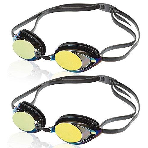 Uniq Fliker Swim Goggles, Professional Competitive Swim Racing Goggles for Speedo Swim Competiton with Multi-Color & Shape (Black 2 Pack)