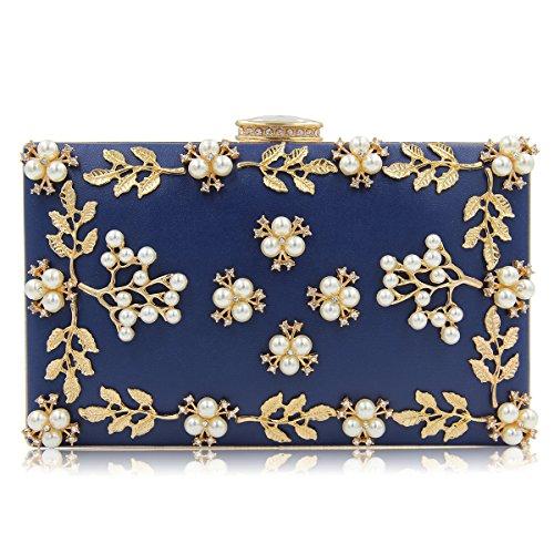 DREAMER Women Rectangular Shiny Evening Clutch Bag Embossed Rhinestone Wedding Prom Handbag Square Chain Shoulder Bag,Blue ()