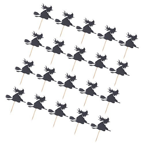 Dovewill Pack of 20pcs Novelty Halloween Witch Broom Cupcake Food Picks Cake Toppers Party Decoration - Black, as described