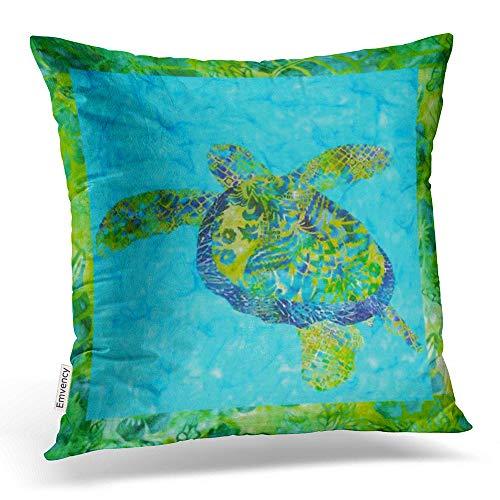 Emvency Throw Pillow Covers Batik Honu Sea Turtle Pillowcases Polyester 18 X 18 Inch Square With Hidden Zipper Home Sofa Cushion Decorative Pillowcase ()