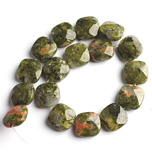 Love Beads Natural Stone Bead Faceted Unakite Square Loose Beads Jewelry DIY Bracelet 12x12mm