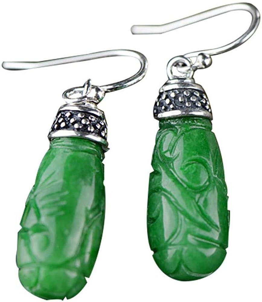Miyuan - Pendientes de plata de ley 925 tallados a mano en jade verde