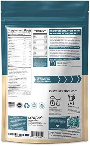 LYFE FUEL Post Workout Recovery Shake Keto, Vegan Gluten Free Plant Based Superfood Protein Mix Vanilla Chai 25g of Protein Soy and Dairy Free 1 LB Bag