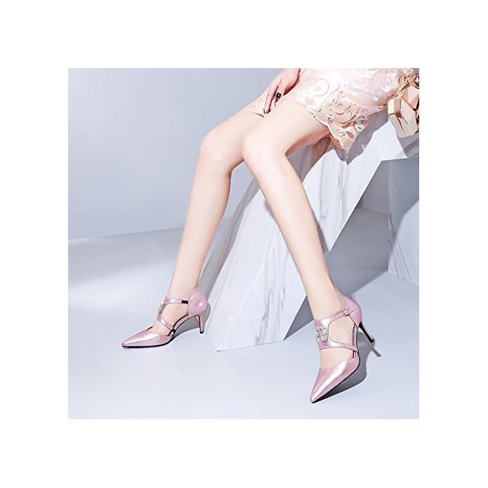 Ajunr Sandali Da Donna Alla Moda Punta Sottile Cciata Rosa 8cm Tacchi Alti 39