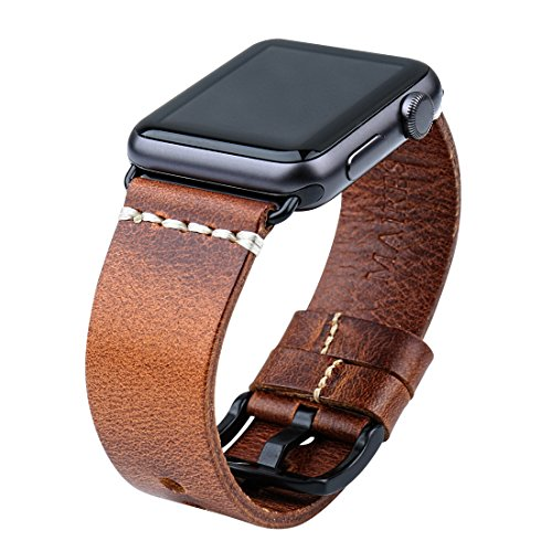 MAIKES Compatible Apple Watch Strap Vintage Oil Wax Leather Watchband 5 Colors Replacement for Apple Watch Band 44mm 40mm 42mm 38mm Series 4 3 2 1 iWatch(42mm, Light Brown+Black Buckle) ()