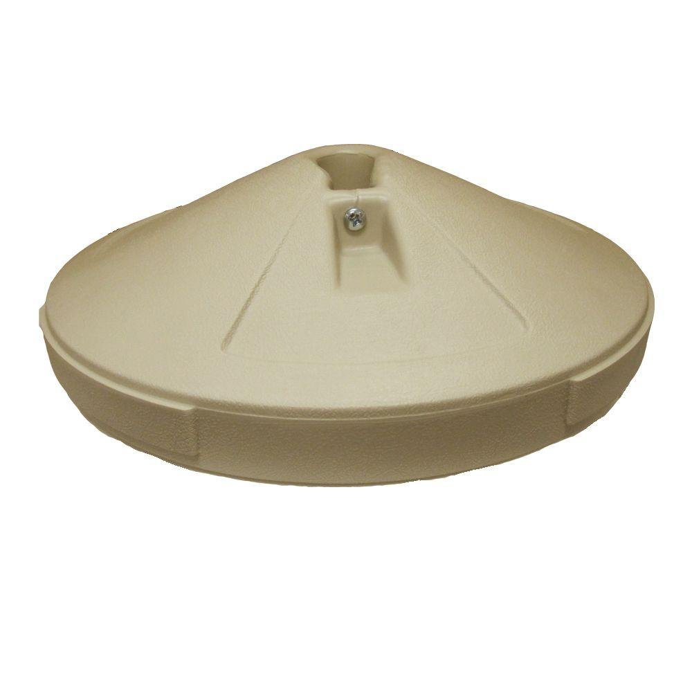 Weather-resistant Lightweight Patio Umbrella Base in Taupe Perfect for Outdoor Setting