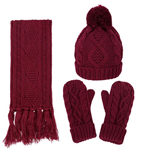 Women's Winter Warm 3PC Burgundy Cable Knit Gloves Scarf Beanie Hat (Burgundy Cable Knit)