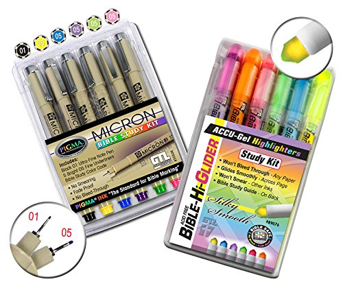 Accu-Gel Bible Highlighter Study Kit (Pack of 6) + Pigma Micron Bible Study Kit (Pack of 6) - The Deluxe Study Kit