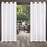 Cheap Exclusive Home Biscayne Indoor/Outdoor Two Tone Textured Window Curtain Panel Pair with Grommet Top, 54×96, Winter White, 2 Piece