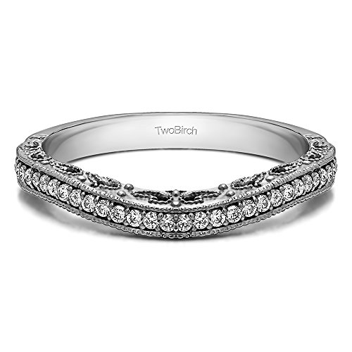 0.18 Carat Diamond Filigree and Millgrained Vintage Contour Band in Rose Plated Silver (G,I2) (size ()