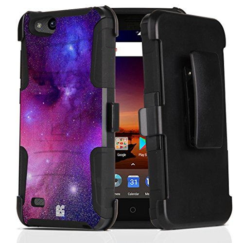 ZTE ZFive C LTE Z558VL Case - Dual Layer [Heavy Duty Protection] Rugged Kickstand Case (Purple Nebula) with Rotatable Belt Holster Clip and Atom Cloth for ZTE ZFive C LTE Z558VL (10 Phone Cases Zte Net For)