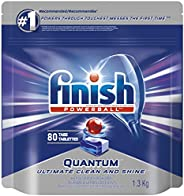 Finish Dishwasher Detergent, Quantum Max, Fresh, Mega Value Pack, 80 Tablets, Shine and Glass Protect (Packagi