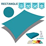 Coarbor Waterproof 10'x10' Sun Shade Sail Canopy Customized Square Polyester for Pergola Carport Awning Patio Yard UV Block- Make to Order-Turquoise Green