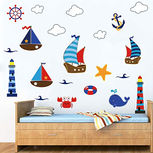 decalmile Lighthouse Sailboat Anchor Nautical Wall Decals for Kids Baby Nursery Wall Stickers Bedroom Living Room Decoration