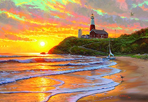 Beach Scene Lighthouse - SunsOut Perfect Day 500 Pc Jigsaw Puzzle