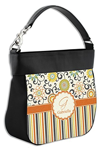 Stripes Back Floral w Swirls Genuine Purse Personalized Leather Trim amp; Front Hobo amp; PgdwwxqE