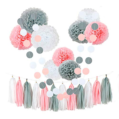 CHOTIKA 23 pcs Tissue Flowers Pom Poms Party Girl Paper Decorations First Birthday Girl Tissue Flowers Tassel Paper Baby Shower Decorations Supplies Kits Paper (Pink-White-Grey) -