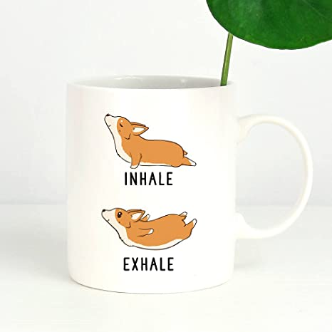 Amazon.com: Inhale Exhale Corgi - Taza de yoga, diseño de ...