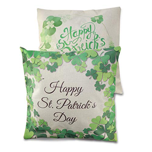 Konsait 2Pack St.patricks Pillow Covers Green Shamrock Pillow Case St.Patrick's Day Throw Pillow Throw Cushion Happy St. Patrick's Day Gift Accessories Party Favor Supplies for Sofa Bedroom Home Decor]()