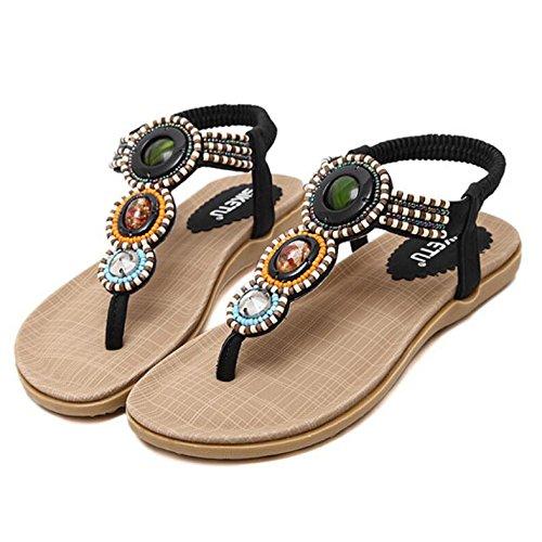 Donna ZHXUANXUAN da Sandalo Boemia con Sandalo Alto Estivi Donna Black con Perline Strass Tacco da rErW8pwqf5