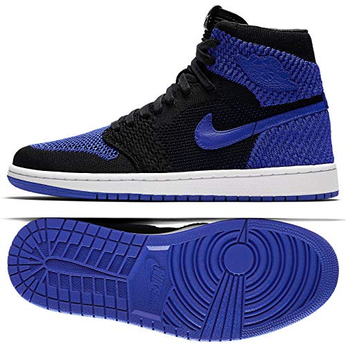Jordan Nike Mens Air 1 Retro Hi Flyknit Black/Royal Flyknit Size 11