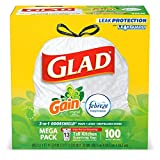Glad Tall Kitchen Drawstring Trash Bags - OdorShield 13 Gallon White Trash Bag, Gain Original with Febreze Freshness - 100 Count (Packaging May Vary)