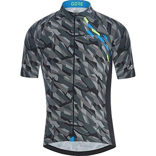 Camouflage Short Sleeve Jersey - GORE Wear Men's Breathable Cycling Short Sleeve Jersey, GORE Wear C3 Camo Jersey, Size: M, Color: Black/Dynamic Cyan, 100030