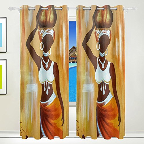 Ethel Ernest Orange African Woman Painting Window Blackout Curtains With Grommet, 55W x 84L Inch, Darkening Blind Insulated Sun-proof Curtains for Bedroom,Living Room,Including 2 Panels