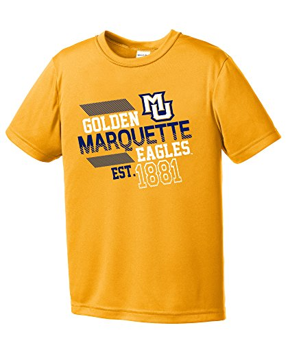 NCAA Marquette Golden Eagles Youth Boys Offsides Short sleeve Polyester Competitor T-Shirt, Youth Medium,Gold