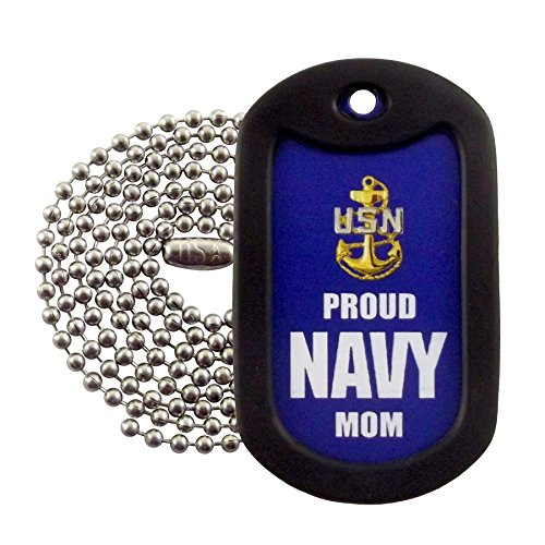 (Military Dog Tags - Proud U.S. Navy Mom Dog Tag Necklace - Tag-Z)
