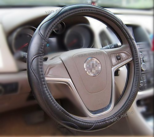 "38CM Warm Soft Anti Slip Easy Strain Sheepskin PU Leather Steering Wheel Cover for SUV Truck Bus PickUp minivan Vintage Car 15"" inch 38CM"