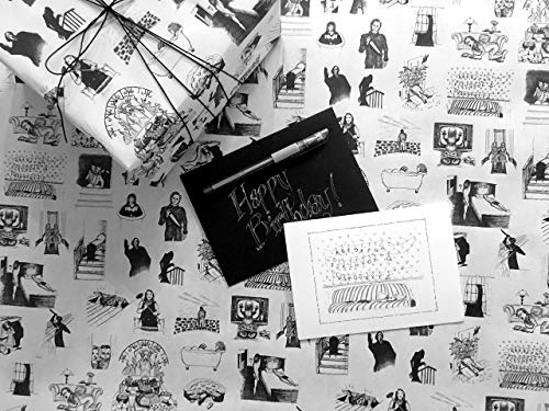 - Stranger Things Greeting Card & Horror Movie Classics Wrapping Paper - Includes up to 8 Feet of Scary Gift Wrap, Premium Birthday Card and Black Envelope, plus a FREE Silver Ink Pen!