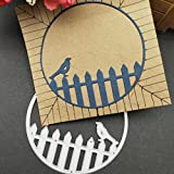 callm Bird Fence Metal Cutting Dies Embossing Card Making Die Cuts Scrapbooking Dies Stencil Metal Cut For Card Album Decoration Paper Card Making (H)