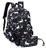 Leaper Unicorn Backpack for Girls Laptop Backpack School Bag Travel Daypack Bookbag Shoulder Bag Pencil Case Black