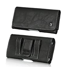 SIDEWAYS DELUXE BLACK LEATHER POUCH BELT CLIP LOOP HOLSTER POUCH Fits SAMSUNG GALAXY S4 S3 with OTTERBOX DEFENDER case on (By All_Instore)